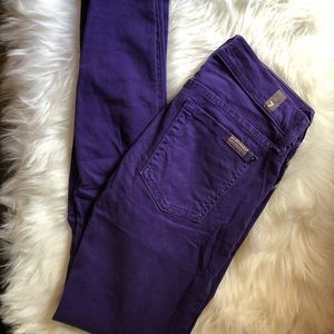 7 for all Mankind gwenevere purple skinny jeans